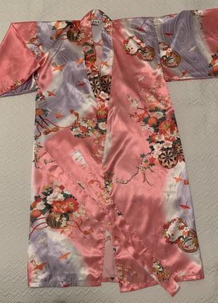 Кимоно халат juguemm розовое в цветы
