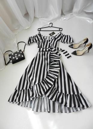 ✅ красивенное платье  в полоску миди с рюшами воланами под поясок  на тонких брителях
