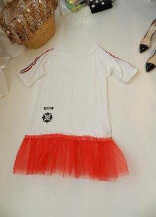 ✅ платье футболка на одно плечо свободного кроя с воланом из сетки(евро фатин)