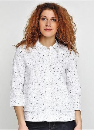 ff1ef684f28c Летняя белая нарядная рубашка блуза с воротником и рукавом 3/4 швеция