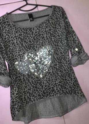 Лёгкая летняя блузка футболка с рукавом- трансформер леопардовый принт серо-чёрная