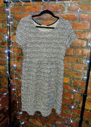 Стильное платье с отрезной талией из фактурной мохнатой ткани букле papaya