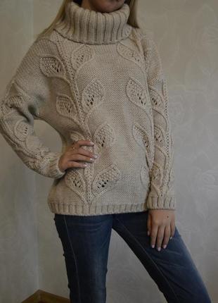 Уютный вязаный бежевый свитер с интересной вязкой и воротником tu размер 16 большой размер