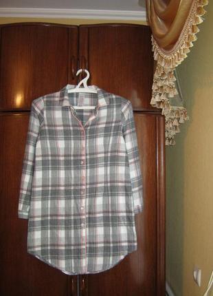 Рубашка-халат peacocks, 100% хлопок-байка, размер 10-12