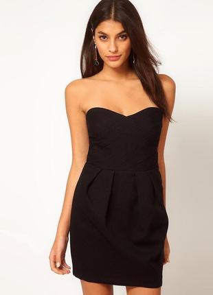 Скидка! платье черное бюстье с бантом в стиле пин-ап asos