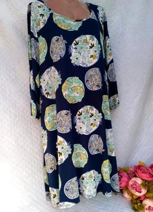Шикарное летнее вискозное платье свободного кроя в цветы размер 26-28 (54-58)