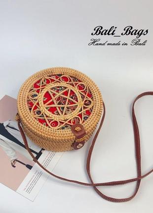 Пляжная соломенная сумка из ротанга