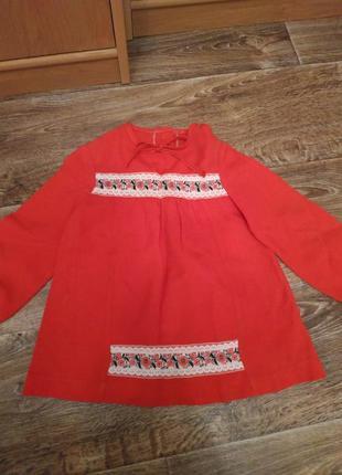 Детское красное платье вышиванка