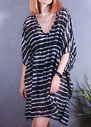 Шифоновое платье, пляжное платье, полупрозрачная туника в полоску, парео
