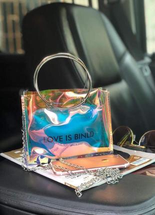 Прозрачная голографическая силиконовая сумка с косметичкой на лето