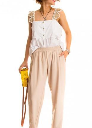 Женские брюки на резинке бежевого цвета prima donna (италия) размер 48 (xl)