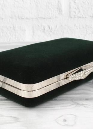 Велюровый клатч rose heart 09829-1 темно-зеленый, сумочка на цепочке