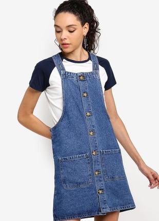 Синий джинсовый сарафан на пуговицах denim co