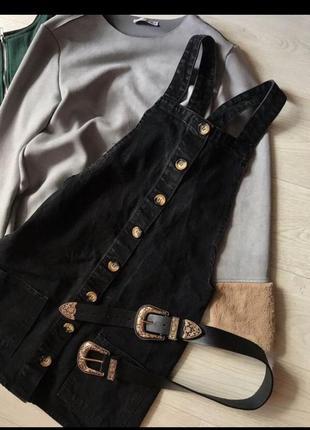 Чёрный джинсовый сарафан на пуговицах denim co