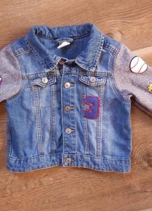 Джинсовая  куртка  h&m для мальчика на 6-9 месяцев