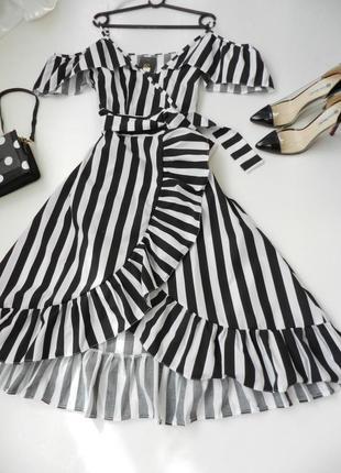 ✅ красивое платье в полоску с воланами