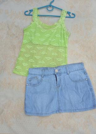 Комплект лот набор майка кружевная + джинсовая юбка