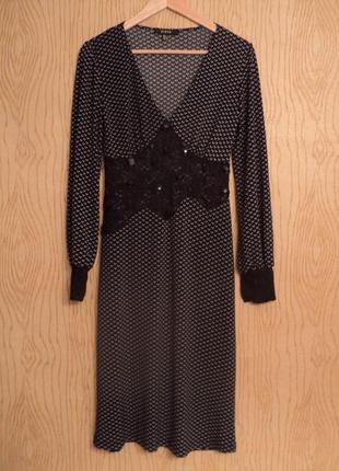 Платье миди черное кружевное длинным рукавом вечернее