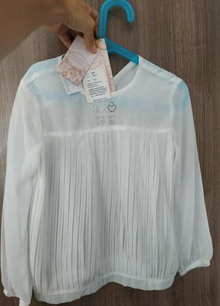 Шикарная школьная блузка mone шифон, стразы