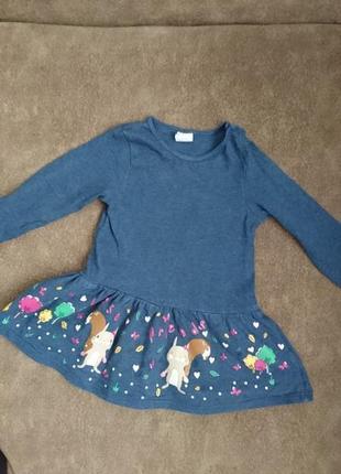 Трикотажное брендовое платье 6-9мес.