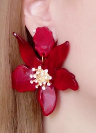 Серьги акриловые цветок цветочек сережки