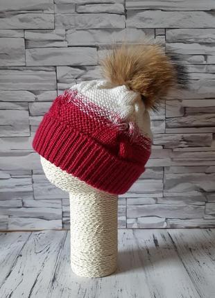 Вязаная шапка,  детская шапка ручной работы,  шапка с помпоном