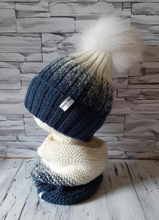 Вязаная детская зимняя шапка с помпоном ручной работы,  комплект шапка и хомут