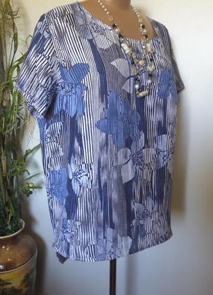 Льняная блуза интересного фасона  пог 66