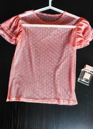 Прозрачная блуза, блузка- сетка, футболка с воланами пудровая в горох/ горошек