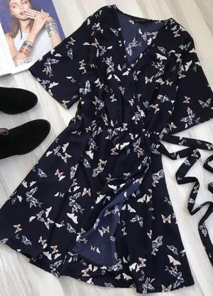 Синее платье на запах от new look