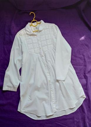 Хлопковая рубашка, платье халат пляжная туника