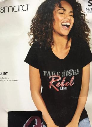 Прикольная женская черная футболка плотная принт размер s