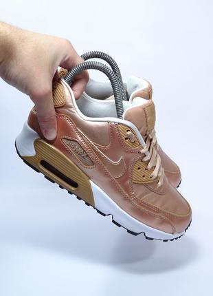 Оригинальные кроссовки nike air max 90 gs metallic bronze (кожа)