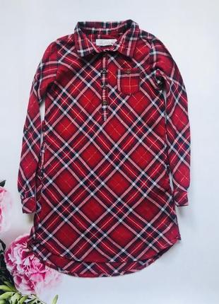 H&m стильная туника-рубашка  на девочку   7-8 лет