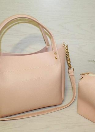 Комплект пудровых сумок, вместительная сумка и клатч