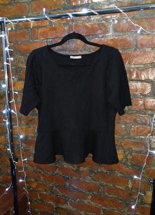 Блуза топ кофточка с баской из костюмного трикотажа marks & spenser