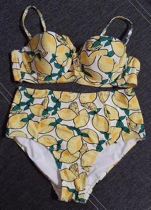 Стильный купальник в ретро-стиле с лимонами tu.