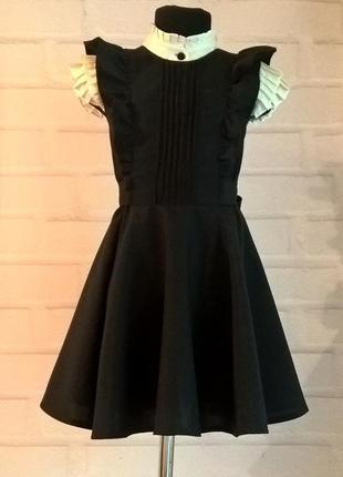 Черный школьный сарафан с крылышками и поясом. школьная форма рр 122-140