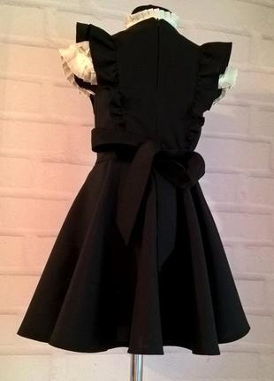 Черный школьный сарафан с крылышками и поясом. школьная форма рр 122-1404 фото