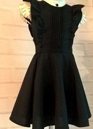 Черный школьный сарафан с крылышками и поясом. школьная форма рр 122-1403 фото