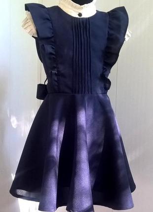 Черный школьный сарафан с крылышками и поясом. школьная форма рр 122-1409 фото
