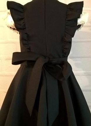 Черный школьный сарафан с крылышками и поясом. школьная форма рр 122-1406 фото