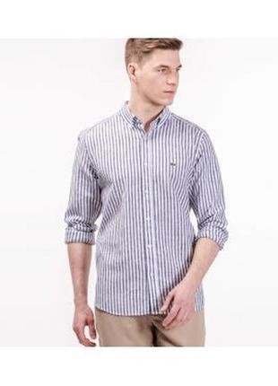 Рубашка lacoste l-xl мужская лакоста серая в белую полску