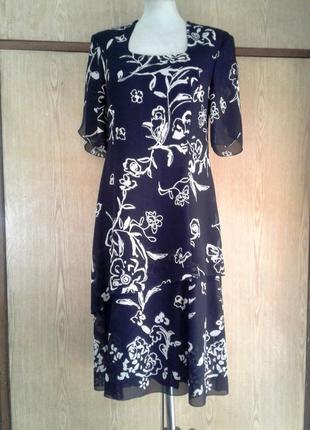 Крепдешиновое платье темно - синее с белым, xl.