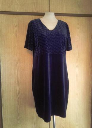 Велюровое синее платье , 3xl.2 фото