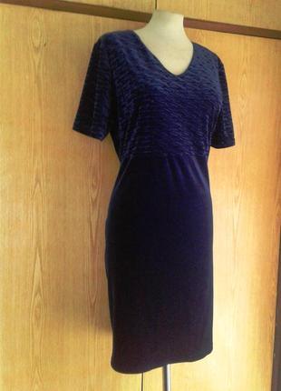 Велюровое синее платье , 3xl.5 фото