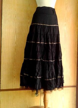 Черная юбка из жмаканого атласа,xl - 3xl.