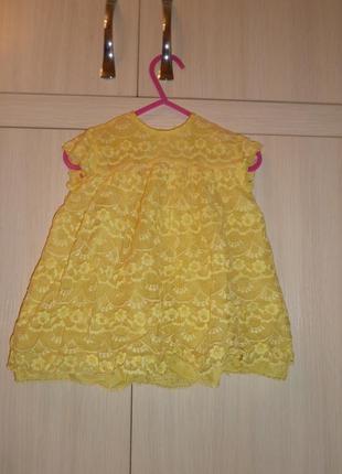 Желтое нарядное платье на 6-12 мес