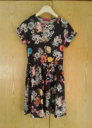 Вискозное платье черное в ярких цветах, s.2 фото