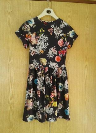 Вискозное платье черное в ярких цветах, s.3 фото